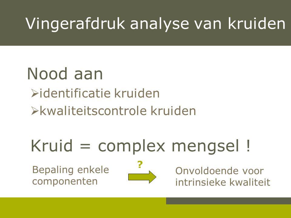 Nood aan  identificatie kruiden  kwaliteitscontrole kruiden Kruid = complex mengsel ! Vingerafdruk analyse van kruiden Bepaling enkele componenten O