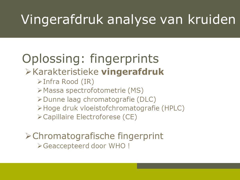 Vingerafdruk analyse van kruiden Oplossing: fingerprints  Karakteristieke vingerafdruk  Infra Rood (IR)  Massa spectrofotometrie (MS)  Dunne laag