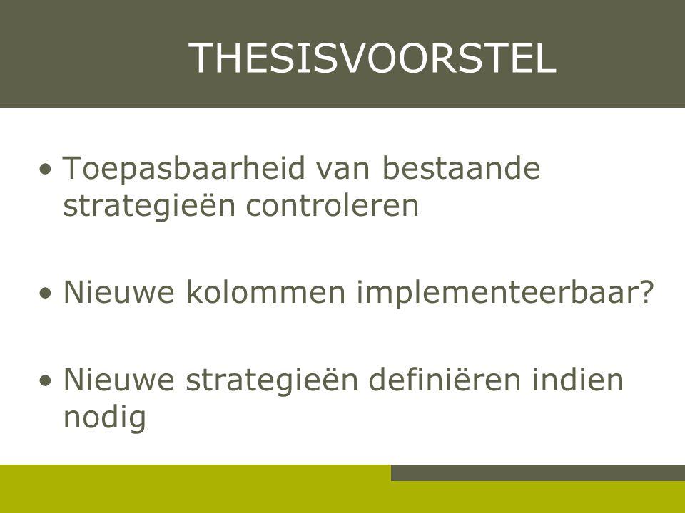 THESISVOORSTEL Toepasbaarheid van bestaande strategieën controleren Nieuwe kolommen implementeerbaar? Nieuwe strategieën definiëren indien nodig
