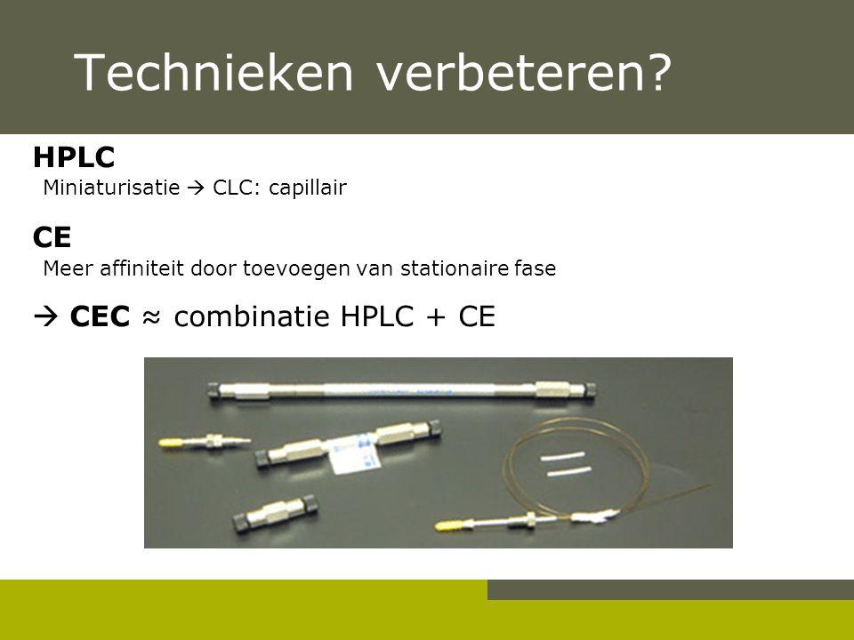Technieken verbeteren? HPLC Miniaturisatie  CLC: capillair CE Meer affiniteit door toevoegen van stationaire fase  CEC ≈ combinatie HPLC + CE