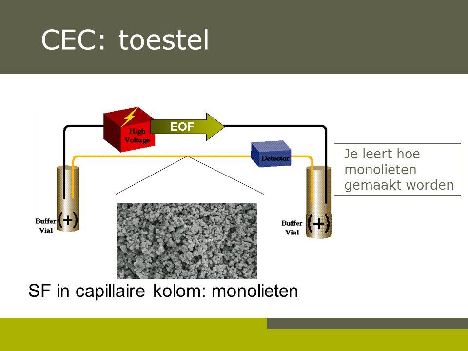 CEC: toestel SF in capillaire kolom: monolieten EOF Je leert hoe monolieten gemaakt worden