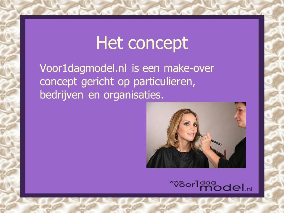 Het concept Voor1dagmodel.nl is een make-over concept gericht op particulieren, bedrijven en organisaties.
