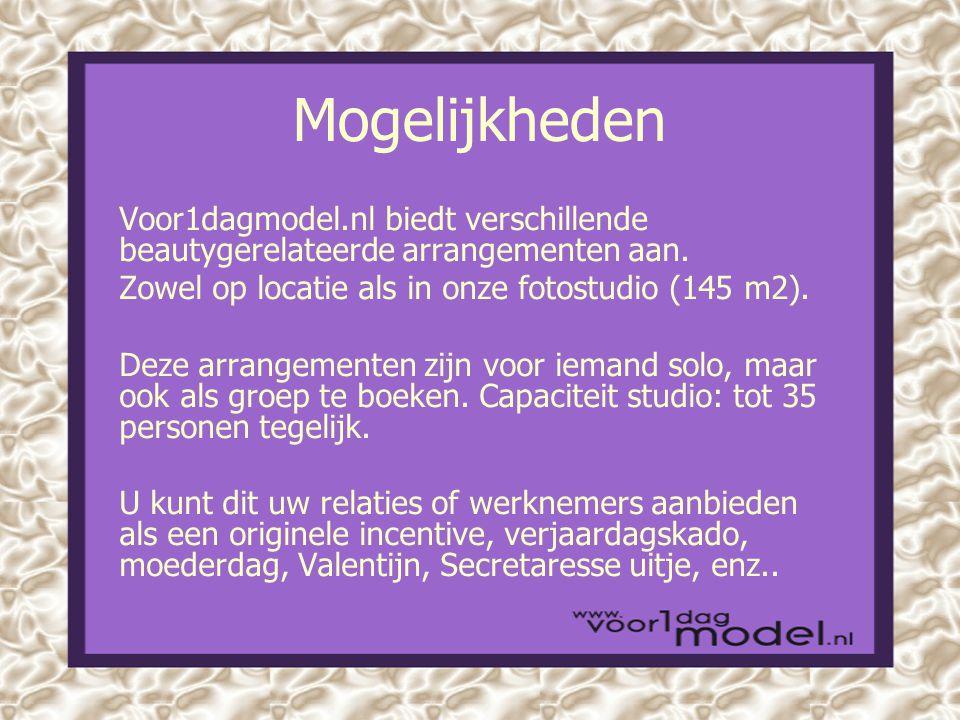 Mogelijkheden Voor1dagmodel.nl biedt verschillende beautygerelateerde arrangementen aan.
