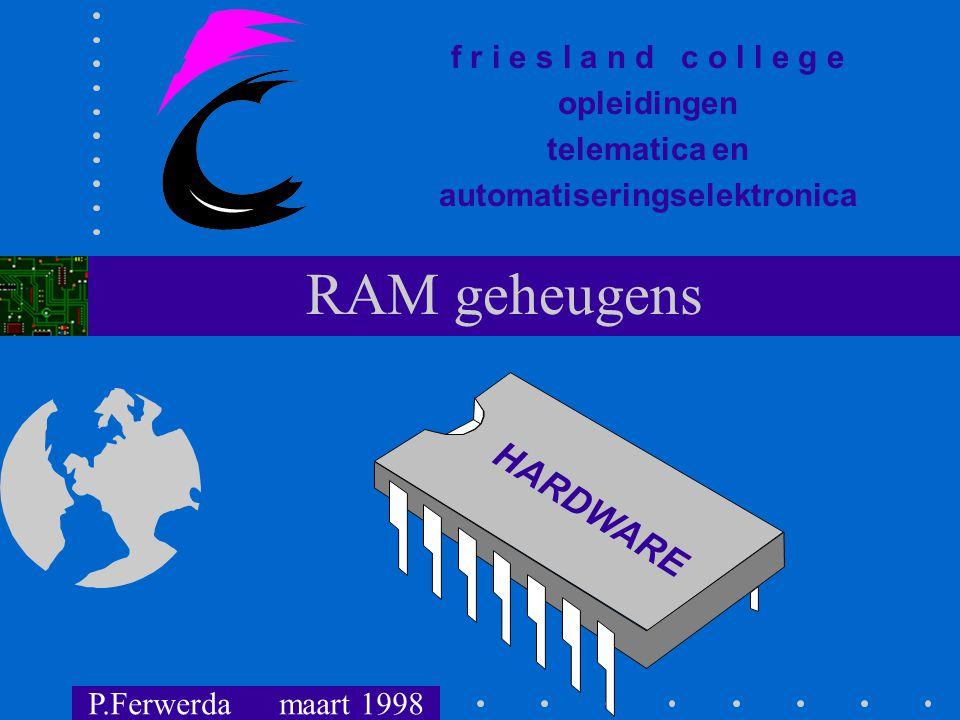 f r i e s l a n d c o l l e g e opleidingen telematica en automatiseringselektronica HARDWARE RAM geheugens P.Ferwerda maart 1998