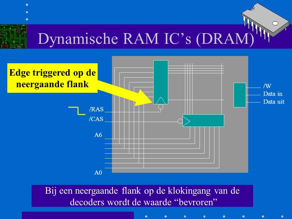 Dynamische RAM IC's (DRAM) Twee 1 uit 128 decoders met latch (D-flipflops) A0 A6 /RAS /CAS /W Data in Data uit ROW adress decoder COLUMN adres decoder