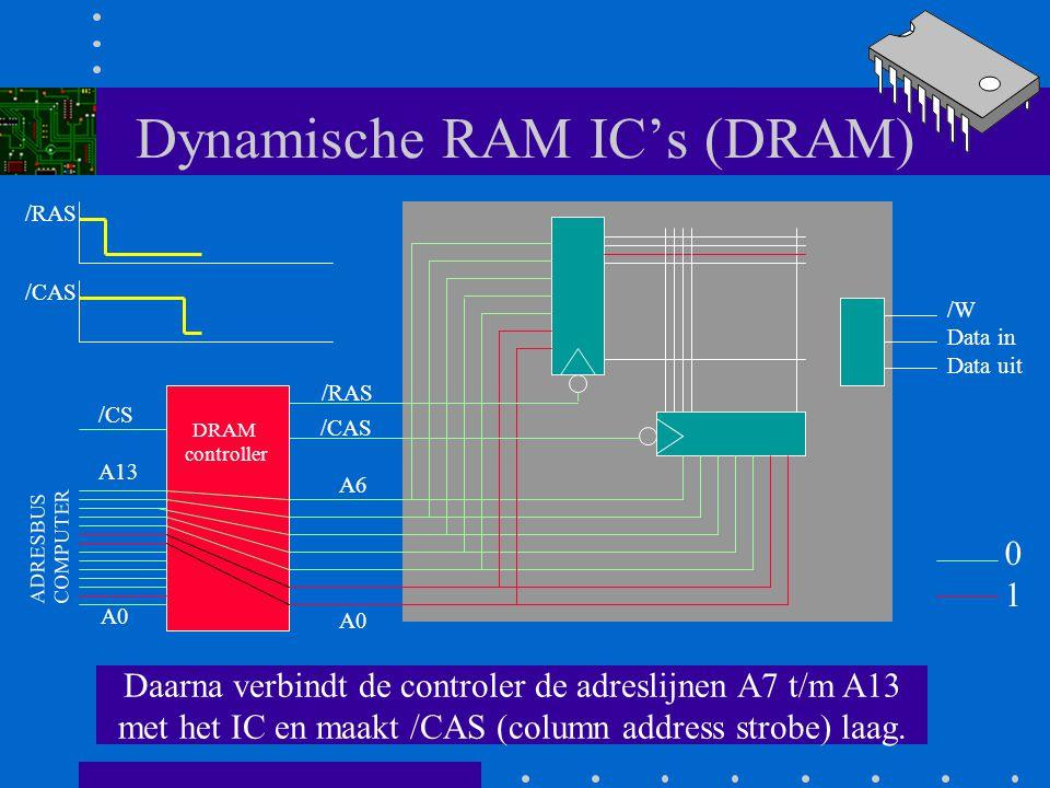 Dynamische RAM IC's (DRAM) Door deze negatieve flank worden de D-flipflops in de row-decoder geklokt en wordt een van de uitgang 2 actief A0 A6 /RAS /