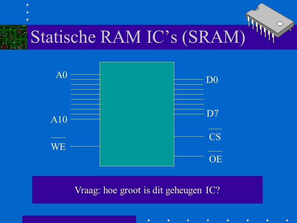 Statische RAM IC's (SRAM) 5116 A0 A10 D0 D7 WE CS OE Voorbeeld: 5116 SRAM IC