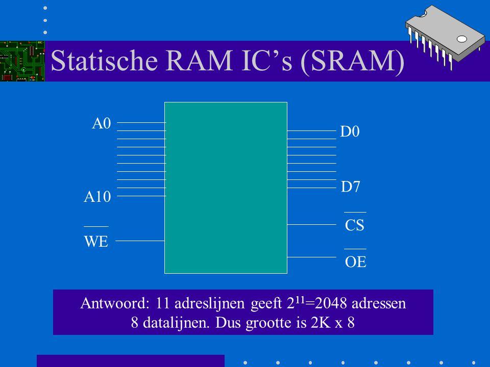 Statische RAM IC's (SRAM) A0 A10 D0 D7 WE CS OE Vraag: hoe groot is dit geheugen IC?