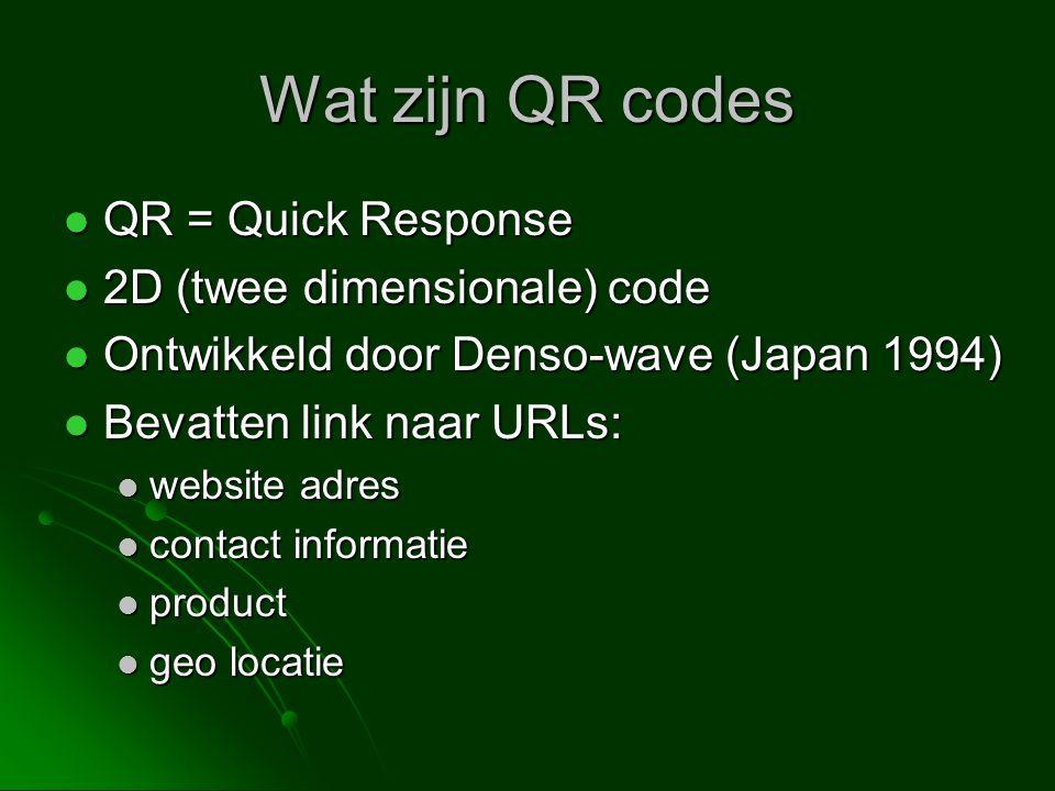 Wat zijn QR codes QR = Quick Response QR = Quick Response 2D (twee dimensionale) code 2D (twee dimensionale) code Ontwikkeld door Denso-wave (Japan 19