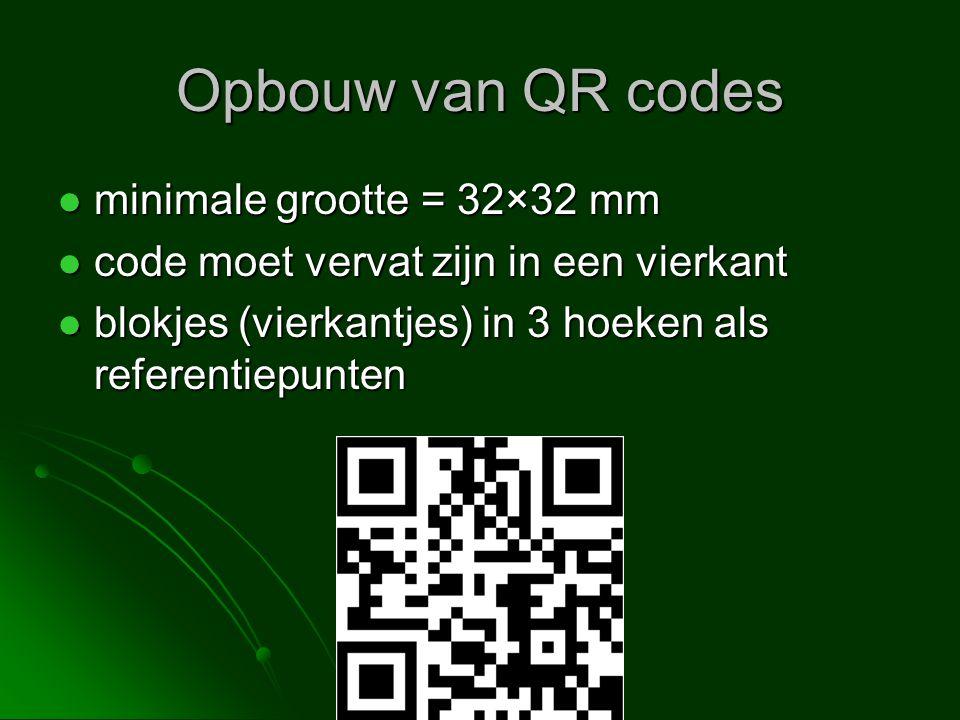Opbouw van QR codes minimale grootte = 32×32 mm minimale grootte = 32×32 mm code moet vervat zijn in een vierkant code moet vervat zijn in een vierkan