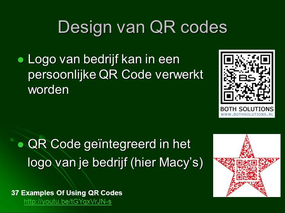 Design van QR codes Logo van bedrijf kan in een persoonlijke QR Code verwerkt worden Logo van bedrijf kan in een persoonlijke QR Code verwerkt worden