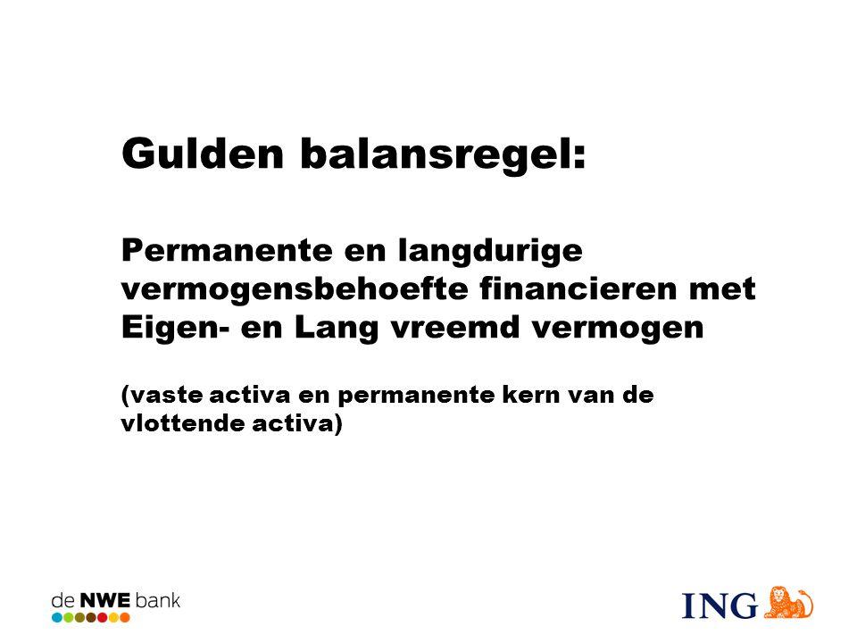 Gulden balansregel: Permanente en langdurige vermogensbehoefte financieren met Eigen- en Lang vreemd vermogen (vaste activa en permanente kern van de