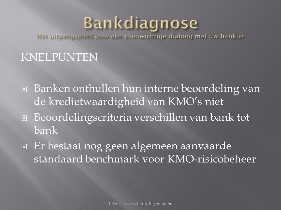 KNELPUNTEN  Banken onthullen hun interne beoordeling van de kredietwaardigheid van KMO's niet  Beoordelingscriteria verschillen van bank tot bank  Er bestaat nog geen algemeen aanvaarde standaard benchmark voor KMO-risicobeheer http://www.bankdiagnose.be