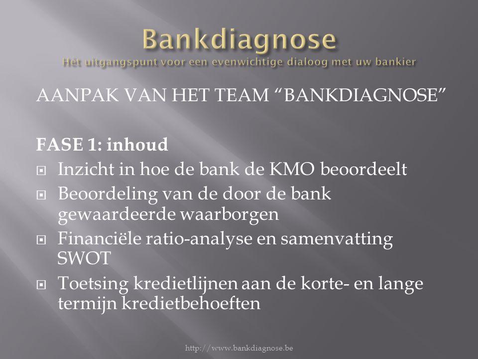 AANPAK VAN HET TEAM BANKDIAGNOSE FASE 1: inhoud  Inzicht in hoe de bank de KMO beoordeelt  Beoordeling van de door de bank gewaardeerde waarborgen  Financiële ratio-analyse en samenvatting SWOT  Toetsing kredietlijnen aan de korte- en lange termijn kredietbehoeften http://www.bankdiagnose.be