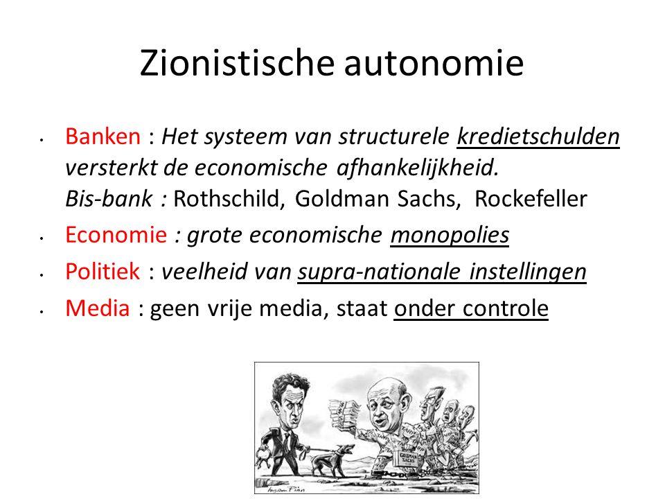 Zionistische autonomie Banken : Het systeem van structurele kredietschulden versterkt de economische afhankelijkheid. Bis-bank : Rothschild, Goldman S