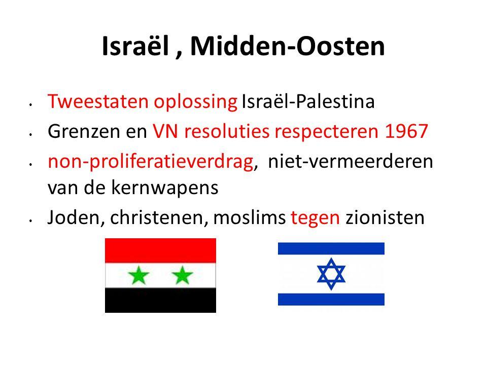 Israël, Midden-Oosten Tweestaten oplossing Israël-Palestina Grenzen en VN resoluties respecteren 1967 non-proliferatieverdrag, niet-vermeerderen van d