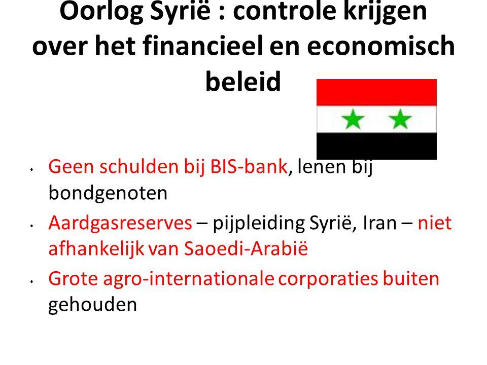 Oorlog Syrië : controle krijgen over het financieel en economisch beleid Geen schulden bij BIS-bank, lenen bij bondgenoten Aardgasreserves – pijpleidi