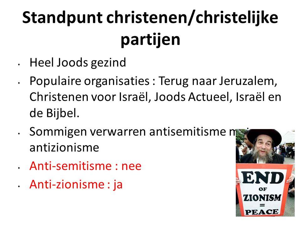 Standpunt christenen/christelijke partijen Heel Joods gezind Populaire organisaties : Terug naar Jeruzalem, Christenen voor Israël, Joods Actueel, Isr