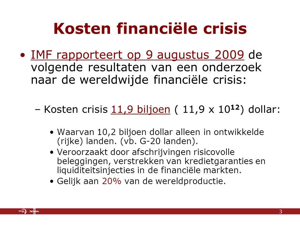Kosten financiële crisis IMF rapporteert op 9 augustus 2009 de volgende resultaten van een onderzoek naar de wereldwijde financiële crisis: –Kosten crisis 11,9 biljoen ( 11,9 x 10 12 ) dollar: Waarvan 10,2 biljoen dollar alleen in ontwikkelde (rijke) landen.