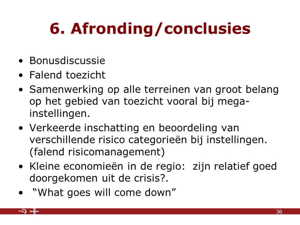 6. Afronding/conclusies Bonusdiscussie Falend toezicht Samenwerking op alle terreinen van groot belang op het gebied van toezicht vooral bij mega- ins