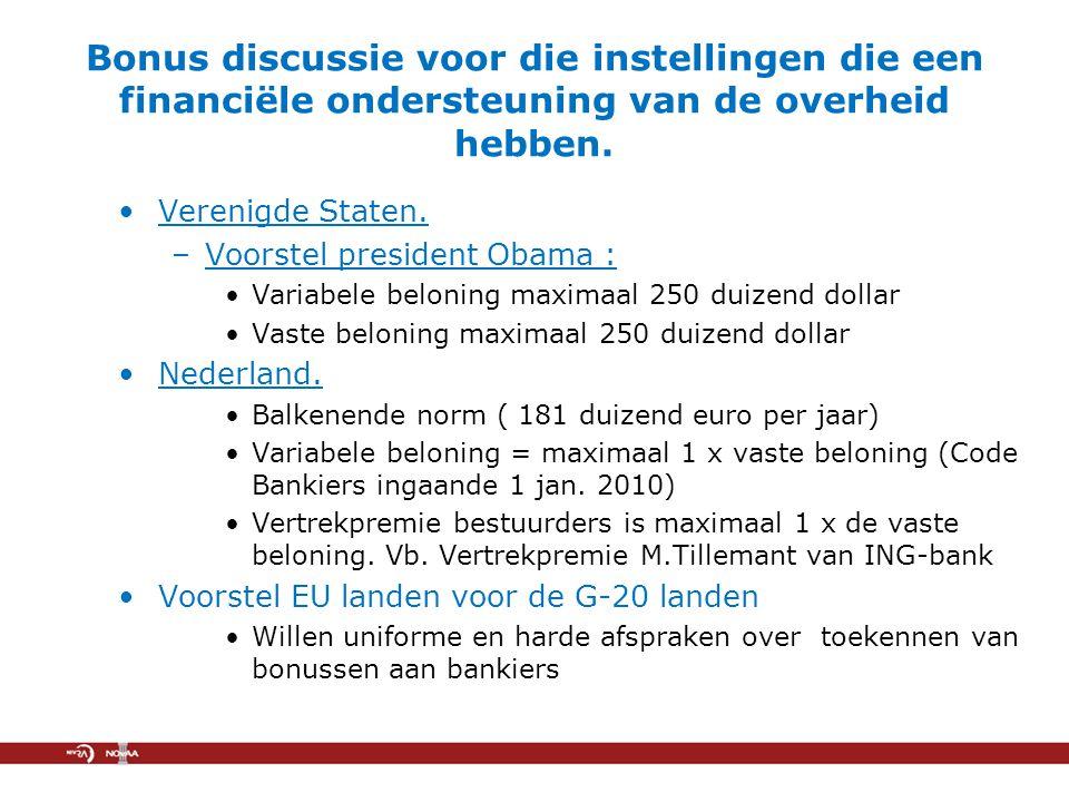 Bonus discussie voor die instellingen die een financiële ondersteuning van de overheid hebben.
