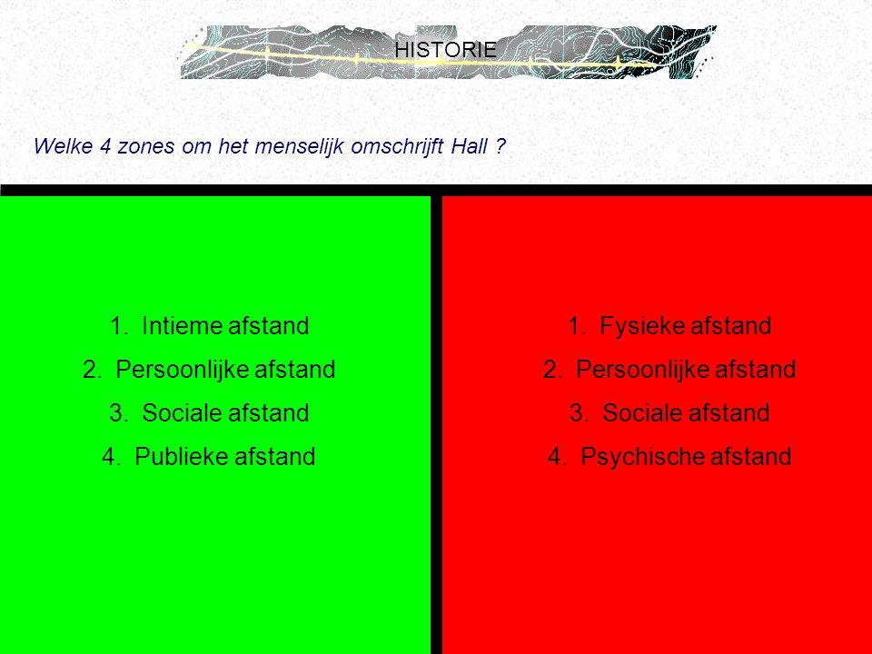 HISTORIE Welke 4 zones om het menselijk omschrijft Hall ? 1.Intieme afstand 2.Persoonlijke afstand 3.Sociale afstand 4.Publieke afstand 1.Fysieke afst