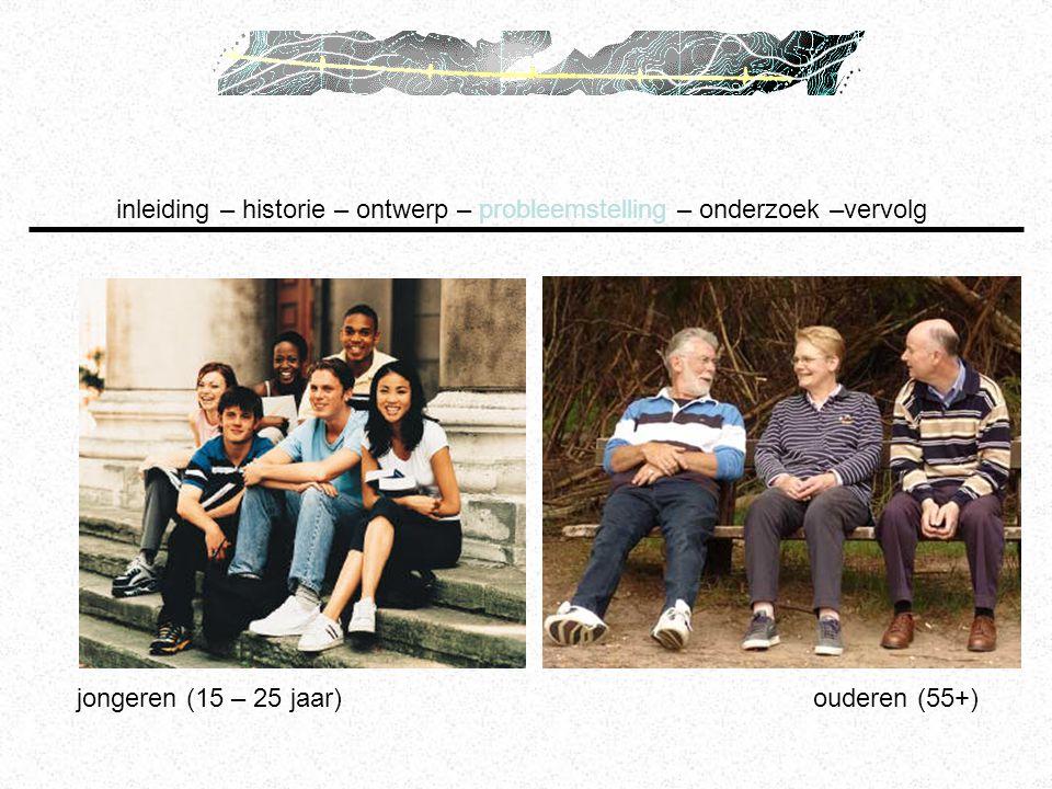 jongeren (15 – 25 jaar) ouderen (55+) inleiding – historie – ontwerp – probleemstelling – onderzoek –vervolg