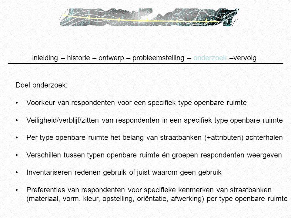 Doel onderzoek: Voorkeur van respondenten voor een specifiek type openbare ruimte Veiligheid/verblijf/zitten van respondenten in een specifiek type op