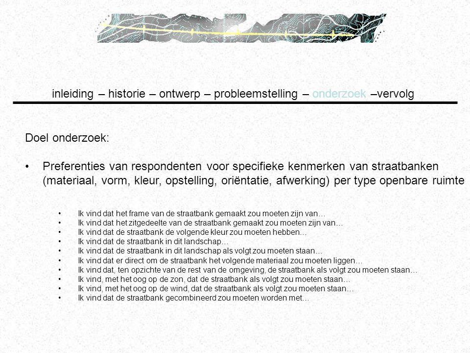 Doel onderzoek: Preferenties van respondenten voor specifieke kenmerken van straatbanken (materiaal, vorm, kleur, opstelling, oriëntatie, afwerking) p
