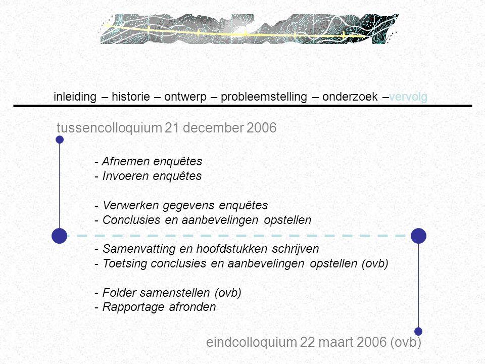 tussencolloquium 21 december 2006 inleiding – historie – ontwerp – probleemstelling – onderzoek –vervolg eindcolloquium 22 maart 2006 (ovb) - Afnemen
