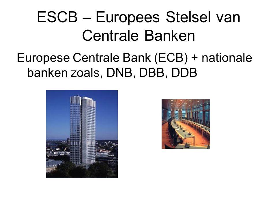 ESCB – Europees Stelsel van Centrale Banken Europese Centrale Bank (ECB) + nationale banken zoals, DNB, DBB, DDB