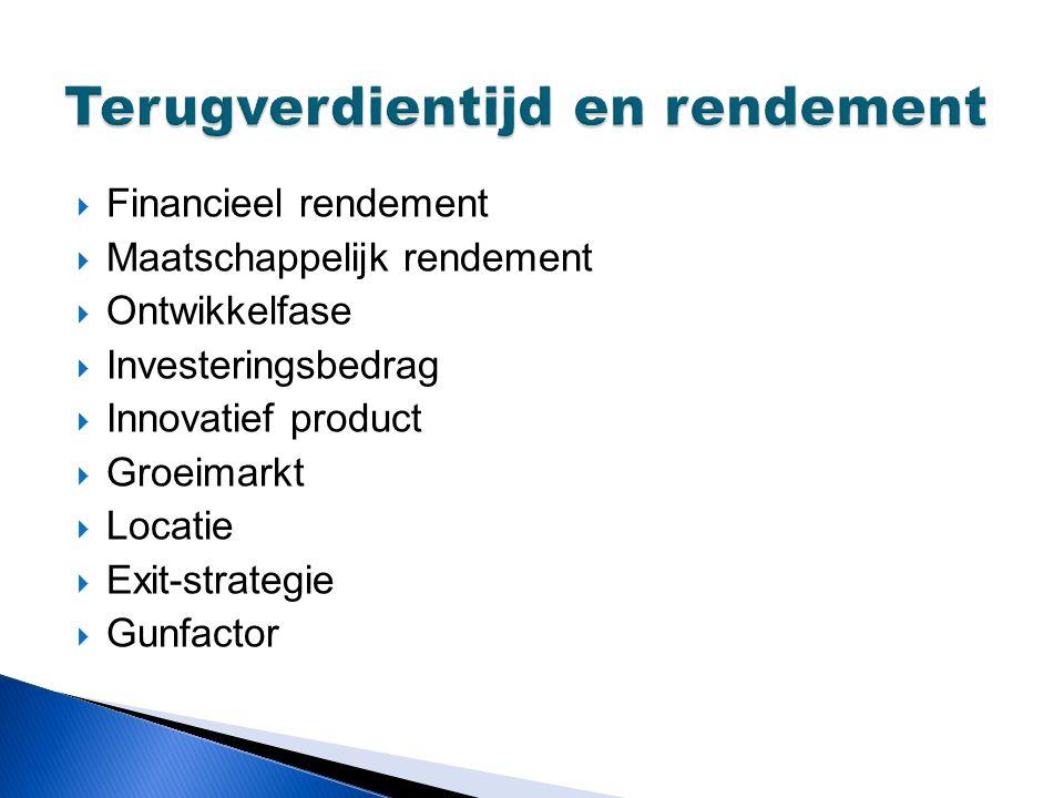  Financieel rendement  Maatschappelijk rendement  Ontwikkelfase  Investeringsbedrag  Innovatief product  Groeimarkt  Locatie  Exit-strategie  Gunfactor