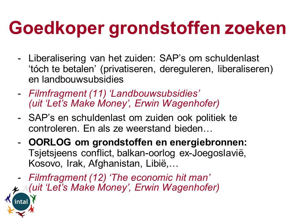 Goedkoper grondstoffen zoeken -Liberalisering van het zuiden: SAP's om schuldenlast 'tóch te betalen' (privatiseren, dereguleren, liberaliseren) en landbouwsubsidies -Filmfragment (11) 'Landbouwsubsidies' (uit 'Let's Make Money', Erwin Wagenhofer) -SAP's en schuldenlast om zuiden ook politiek te controleren.