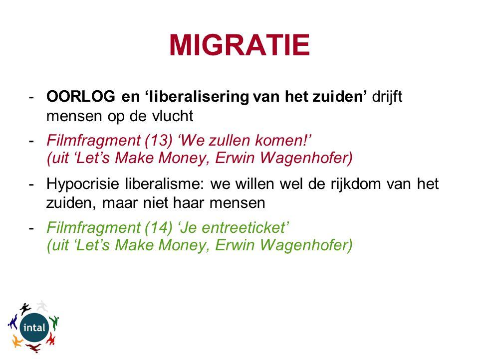 MIGRATIE -OORLOG en 'liberalisering van het zuiden' drijft mensen op de vlucht -Filmfragment (13) 'We zullen komen!' (uit 'Let's Make Money, Erwin Wagenhofer) -Hypocrisie liberalisme: we willen wel de rijkdom van het zuiden, maar niet haar mensen -Filmfragment (14) 'Je entreeticket' (uit 'Let's Make Money, Erwin Wagenhofer)