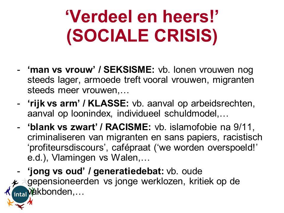 'Verdeel en heers!' (SOCIALE CRISIS) -'man vs vrouw' / SEKSISME: vb.