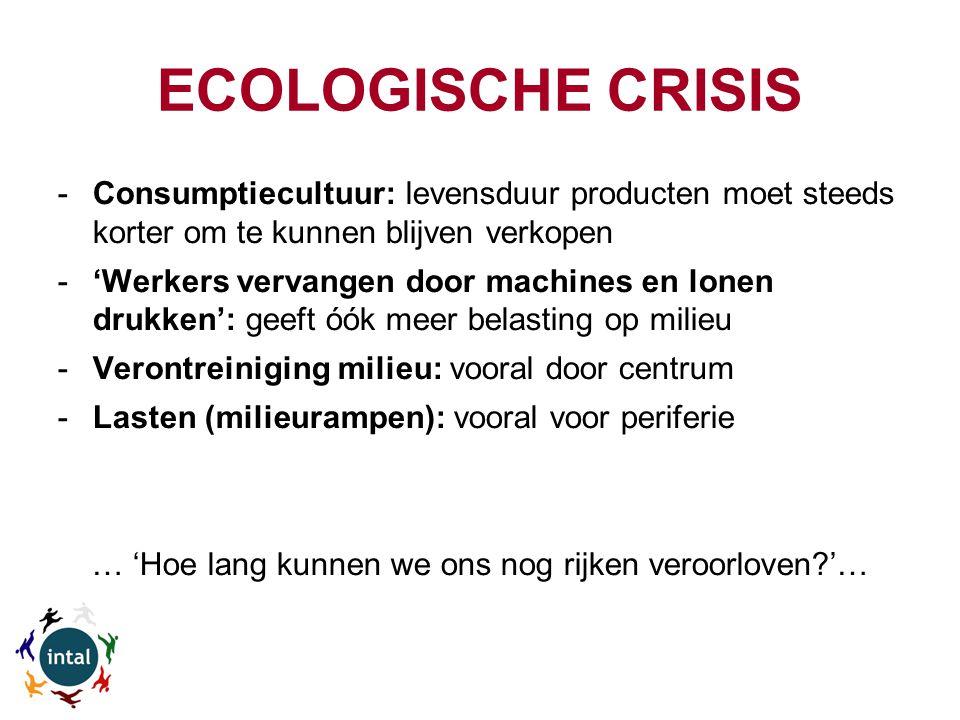 ECOLOGISCHE CRISIS -Consumptiecultuur: levensduur producten moet steeds korter om te kunnen blijven verkopen -'Werkers vervangen door machines en lonen drukken': geeft óók meer belasting op milieu -Verontreiniging milieu: vooral door centrum -Lasten (milieurampen): vooral voor periferie … 'Hoe lang kunnen we ons nog rijken veroorloven?'…