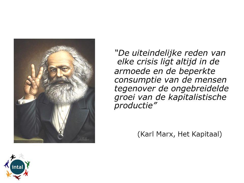 (Karl Marx, Het Kapitaal)  elke crisis ligt altijd in de armoede en de beperkte consumptie van de mensen tegenover de ongebreidelde groei van de kapitalistische De uiteindelijke reden van productie