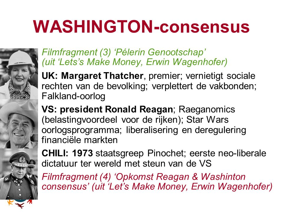 WASHINGTON-consensus -Filmfragment (3) 'Pélerin Genootschap' (uit 'Lets's Make Money, Erwin Wagenhofer)‏ -UK: Margaret Thatcher, premier; vernietigt s