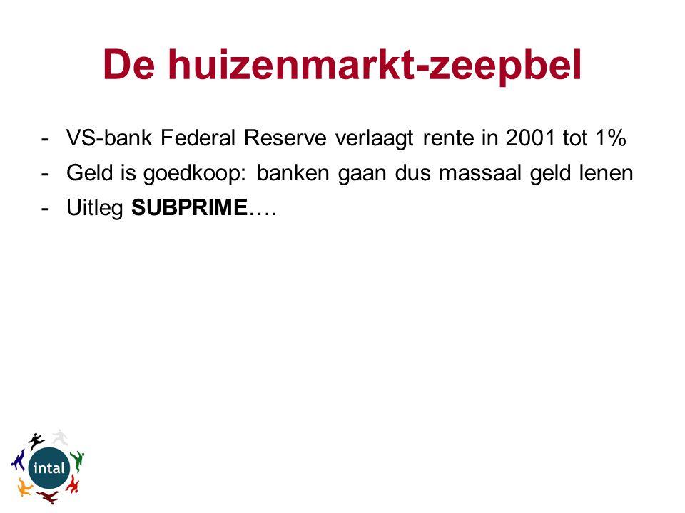 De huizenmarkt-zeepbel -VS-bank Federal Reserve verlaagt rente in 2001 tot 1% -Geld is goedkoop: banken gaan dus massaal geld lenen -Uitleg SUBPRIME….