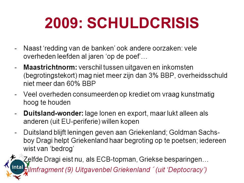2009: SCHULDCRISIS -Naast 'redding van de banken' ook andere oorzaken: vele overheden leefden al jaren 'op de poef'… -Maastrichtnorm: verschil tussen uitgaven en inkomsten (begrotingstekort) mag niet meer zijn dan 3% BBP, overheidsschuld niet meer dan 60% BBP -Veel overheden consumeerden op krediet om vraag kunstmatig hoog te houden -Duitsland-wonder: lage lonen en export, maar lukt alleen als anderen (uit EU-periferie) willen kopen -Duitsland blijft leningen geven aan Griekenland; Goldman Sachs- boy Dragi helpt Griekenland haar begroting op te poetsen; iedereen wist van 'bedrog' -Zelfde Dragi eist nu, als ECB-topman, Griekse besparingen… -Filmfragment (9) Uitgavenbel Griekenland´ (uit 'Deptocracy')