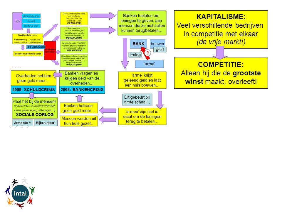 KAPITALISME: Veel verschillende bedrijven in competitie met elkaar (de vrije markt!) COMPETITIE: Alleen hij die de grootste winst maakt, overleeft!