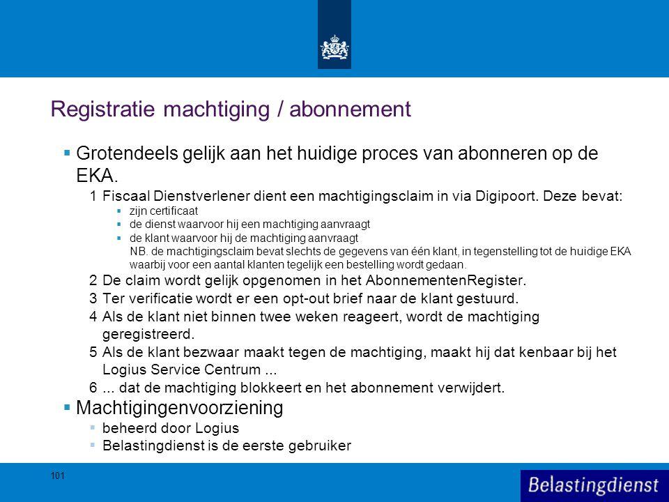 Registratie machtiging / abonnement  Grotendeels gelijk aan het huidige proces van abonneren op de EKA. 1Fiscaal Dienstverlener dient een machtigings