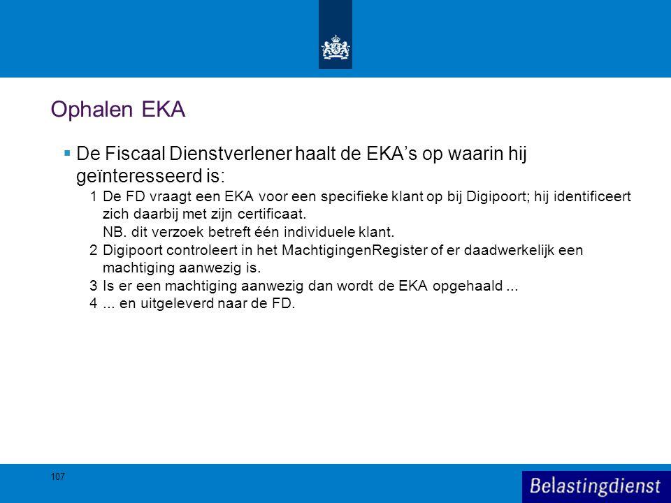 Ophalen EKA  De Fiscaal Dienstverlener haalt de EKA's op waarin hij geïnteresseerd is: 1De FD vraagt een EKA voor een specifieke klant op bij Digipoo