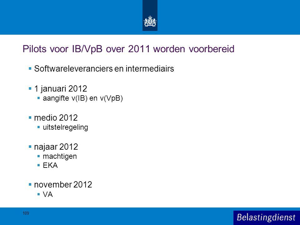 109 Pilots voor IB/VpB over 2011 worden voorbereid  Softwareleveranciers en intermediairs  1 januari 2012  aangifte v(IB) en v(VpB)  medio 2012 