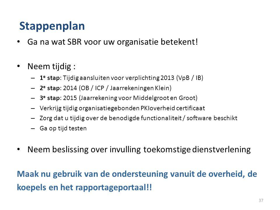 Stappenplan Ga na wat SBR voor uw organisatie betekent! Neem tijdig : – 1 e stap: Tijdig aansluiten voor verplichting 2013 (VpB / IB) – 2 e stap: 2014