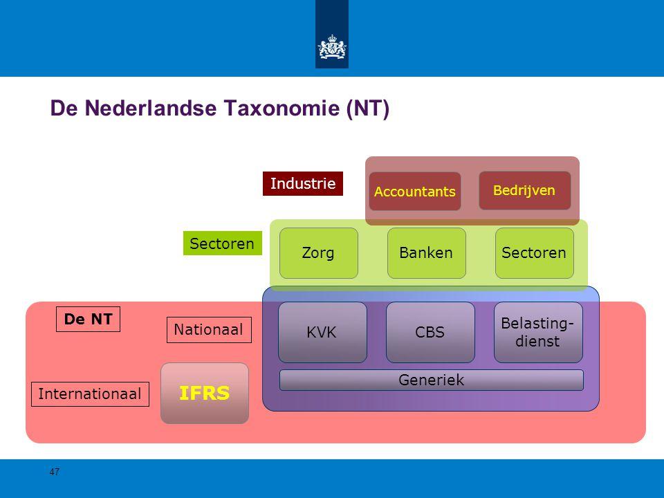 IFRS Internationaal CBSKVK Belasting- dienst Nationaal BankenZorgSectoren Bedrijven Accountants Industrie 47 De Nederlandse Taxonomie (NT) De NT Gener