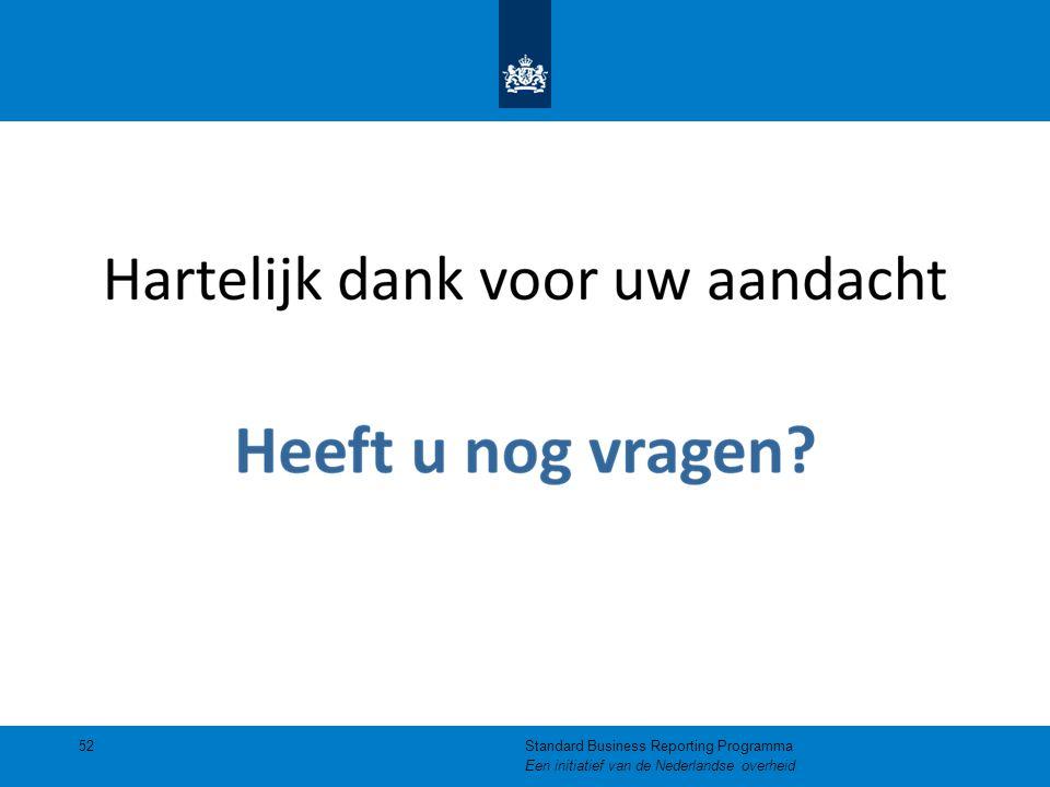 52Standard Business Reporting Programma Een initiatief van de Nederlandse overheid
