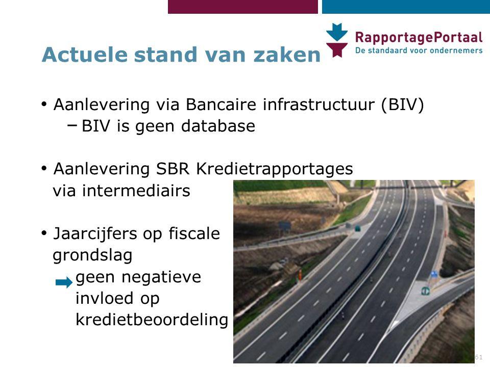 61 Actuele stand van zaken Aanlevering via Bancaire infrastructuur (BIV) – BIV is geen database Aanlevering SBR Kredietrapportages via intermediairs J