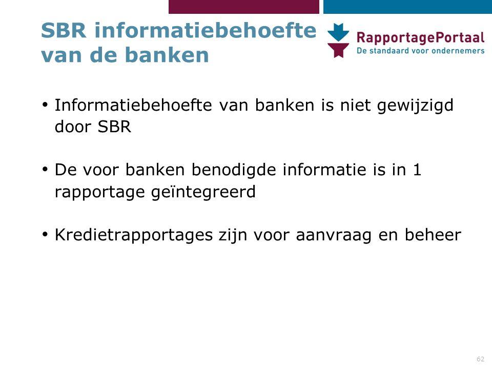 62 SBR informatiebehoefte van de banken Informatiebehoefte van banken is niet gewijzigd door SBR De voor banken benodigde informatie is in 1 rapportag