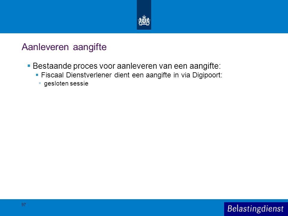 Aanleveren aangifte  Bestaande proces voor aanleveren van een aangifte:  Fiscaal Dienstverlener dient een aangifte in via Digipoort:  gesloten sess